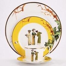 Костяного фарфора набор столовых тарелок набор керамической посуды кофейная кружка с набор подставок