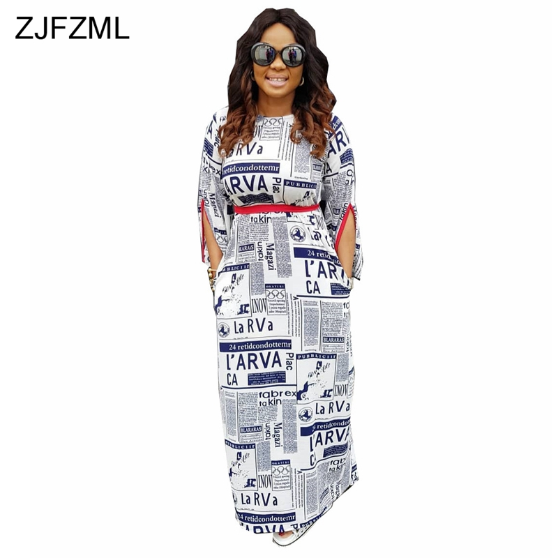 b6ee7db516952 Detail Feedback Questions about ZJFZML Newspaper Print Sexy Maxi Dresses  Women Split Long Sleeve Round Neck Club Party Vestidos Novelty Belted Floor  Length ...