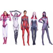 Gwen Stacy Costume Cosplay Women Girls Venom Spider Spiderman Hoodie Spandex Lycra Zentai Suit Superhero Bodysuit Jumpsuits