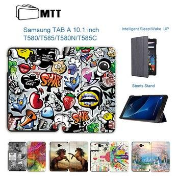 f3e2019e4bf MTT para Samsung Galaxy Tab A6 10,1 pulgadas caso SM-T580 T585 Slim  magnético plegable Flip cubierta de cuero de la PU de la tableta caso Fundas