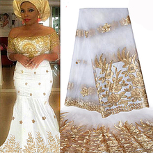 African Lace Fabric 2018 High Quality African Tulle Lace Fabric With Sequins French Net Lace For Women Dress New white