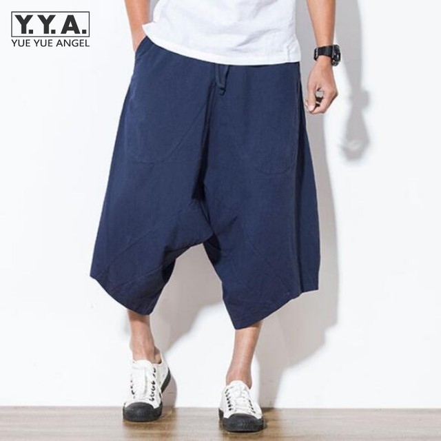 ffcf05138a7e5 Japan Harajuku Loose Mens Capri Pants Linen Cotton Haren Pants Wide Leg  Comfort Mens Short Trousers Casual Male Short Beachwear