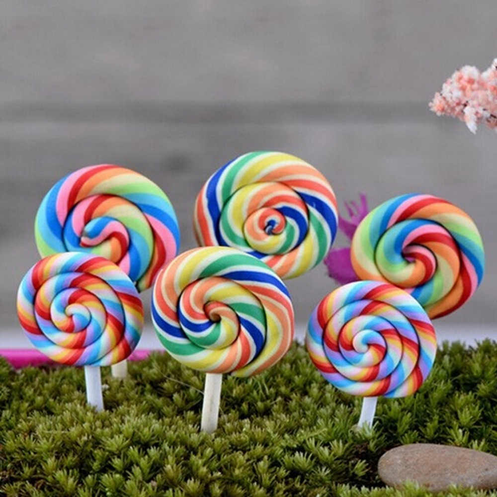 2018 New 2PCS Kawaii Resin Lollipop Pretend Toys Mini Crafts Fairy Garden Kitchen Tools kids Gifts Party Home Decor