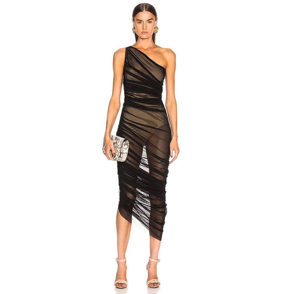2019 Spring Summer Vestidos Women Dresses Mesh Evening Party Dress Black Celebrity Sexy Club Ladies Clothes