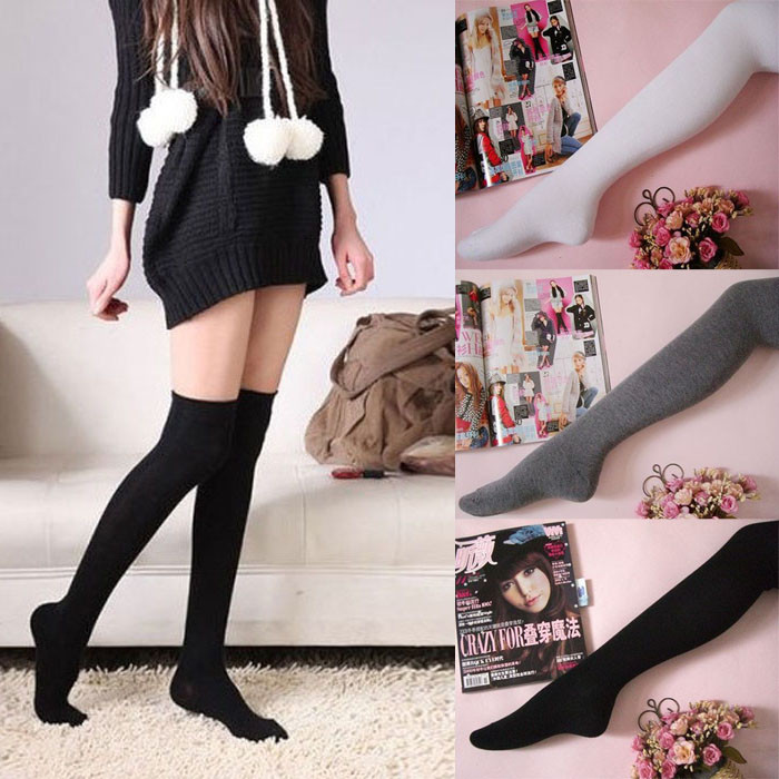 2016 Hot Womens Fashion Cotton Thigh High Socks Sexy Solid Over Knee Socks Long Stockings For Girls Wholesale ...