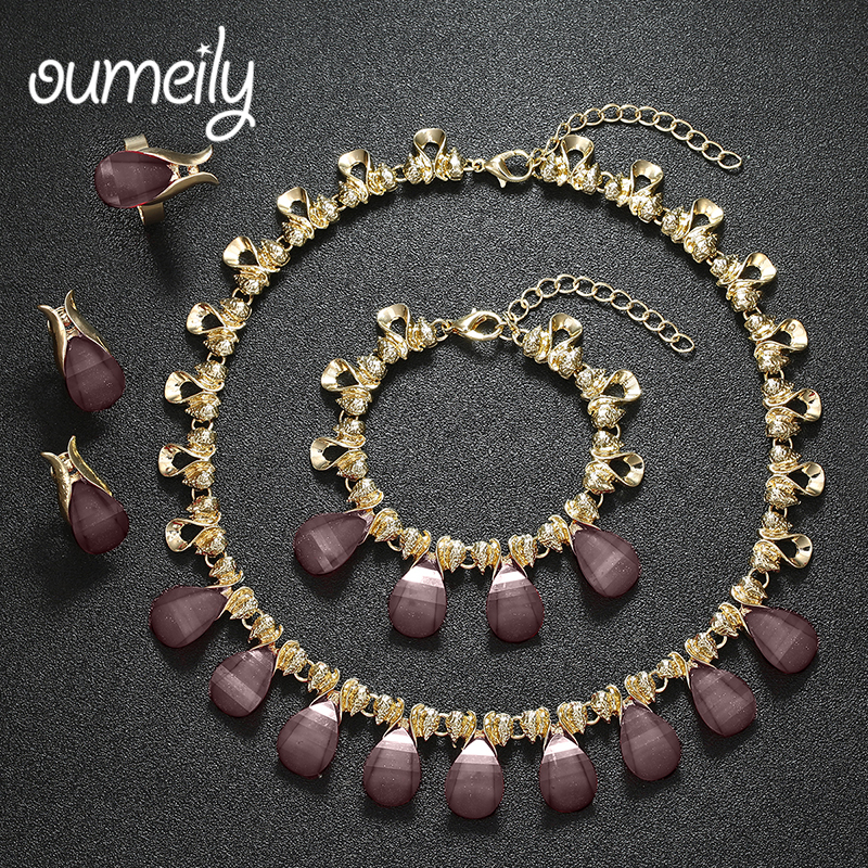 Fine Necklace Set For Women African Beads Crystal Jewelry Sets Pendant Earrings Bracelets Party Wedding Dress Accessories