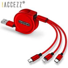 !ACCEZZ Retractable USB Cable 3A Fast Charging For iPhone XS MAX Micro Type C Samsung Huawei Xiaomi Mobile Phone Cables