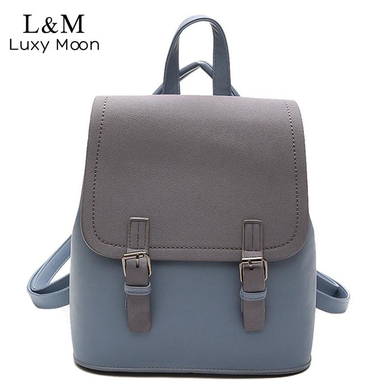 Women Leather Patchwork Backpack Fashion Female Backpacks For Teenage Girls School Bags Black Multifunction Bag Mochila XA1139H
