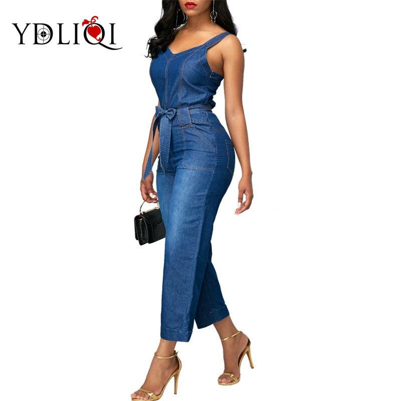 Ydliqi Women Jeans Jumpsuits European Style Playsuit Women Denim