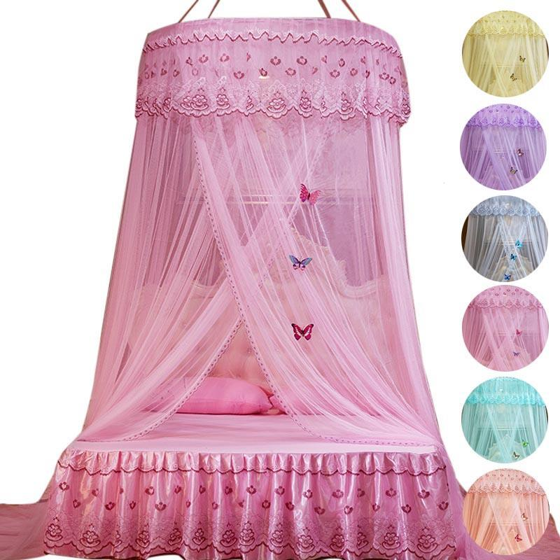 Round princess bed mosquito net pink bed canopy for adults - Bed canopies for adults ...