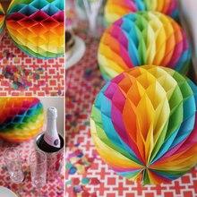 5 шт. радужные сотовые бумажные помпоны декоративные бумажные шары-фонарики для свадьбы, дня рождения, Детские вечерние украшения