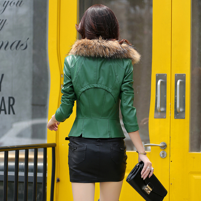 leather jacket women slim Really large raccoon fur collar jacket short casual design motorcycle jacket plus size m-5XL 905 5
