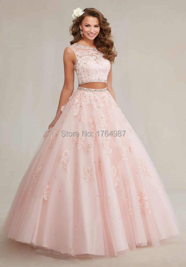 ef36987cc73 Elegant Sweet 16 Appliques Tulle With Lace Bead White Ball Gown Puffy Aqua  Blue 2 Piece Quinceanera Dresses Vestidos De 15 Anos-in Quinceanera Dresses  from ...