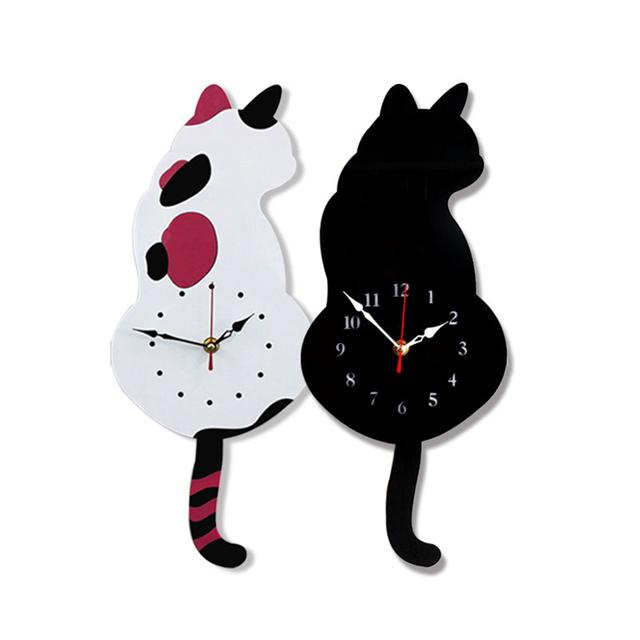Home Decor Creative Mute Acrylic Cartoon Torn Tail Cat Wall Clock