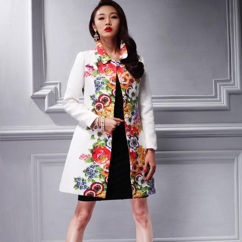 2016 Нови дамски палто Палто коте елегантен жакард есенни връхни дрехи женски естетически бял печат окоп 26