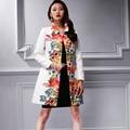 2016 New Women Coat Overcoat kitten elegant jacquard autumn outerwear female aesthetic white print trench 26