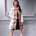 2016 Novo Revestimento Das Mulheres Casaco gatinho elegante jacquard outono branco estética impressão trincheira outerwear feminino 26