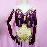 Sexy Stage Costume Women Purple Tassel Rhinestone Bodysuit Singer Crystal Jumpsuit Dancer Rave Outfit Gogo Clothing DNV10294
