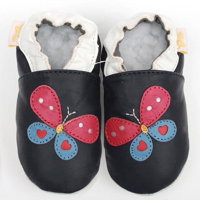 Bebê sapatos de couro genuíno Baby mocassins Animal borboleta suaves sapatos de bebê únicos meninos bebê miúdos criança sapatos primeiro Walkers