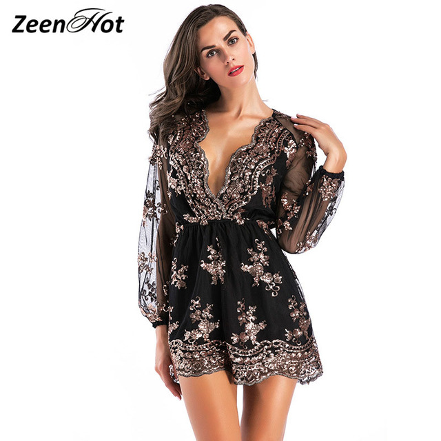 1c5938ee72c 2017 Brand Autumn Elegant Sequined Embroidery Jumpsuit Women Romper Short  Overalls Long Sleeve Deep V Sexy