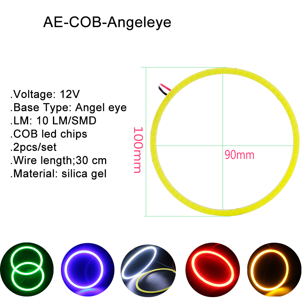 1 Pair 100mm 12V COB 72 SMD Colorful LED All Car Halo Rings Light Waterproof LED Angel Eyes Car Headlight for Universal Car in Car Light Assembly from Automobiles Motorcycles