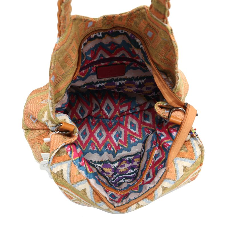 Trendy embroidery Women Striped PU Leather Handbag Bohemian Boho Gypsy Bags Cotton Fabric Bag national folk custom ethnic bags in Shoulder Bags from Luggage Bags