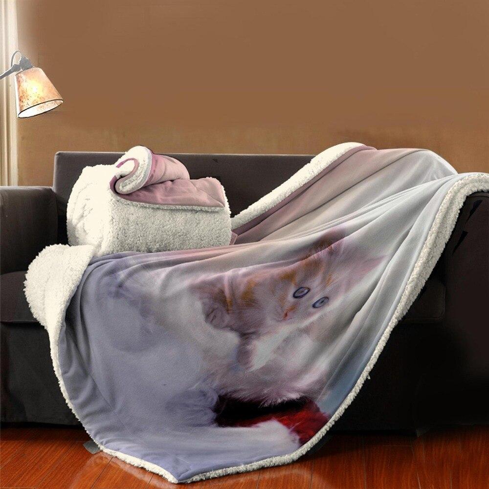 Manta de dibujos animados textil para el hogar con estampado de gato para niños - 5