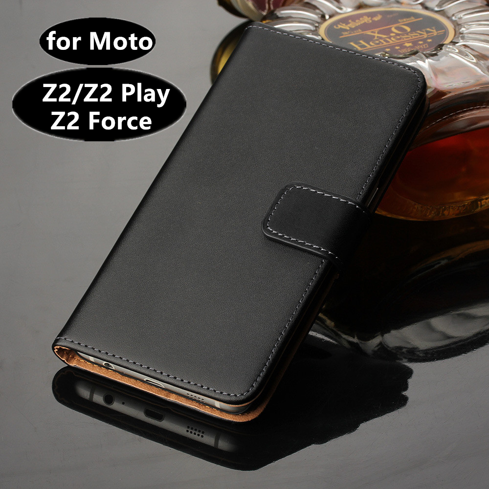 Premium PU Leather Wallet Cover Case for Motorola Moto Z2 Force / Z2 Play Card Holder Flip Case for Moto Z2 Play GG image