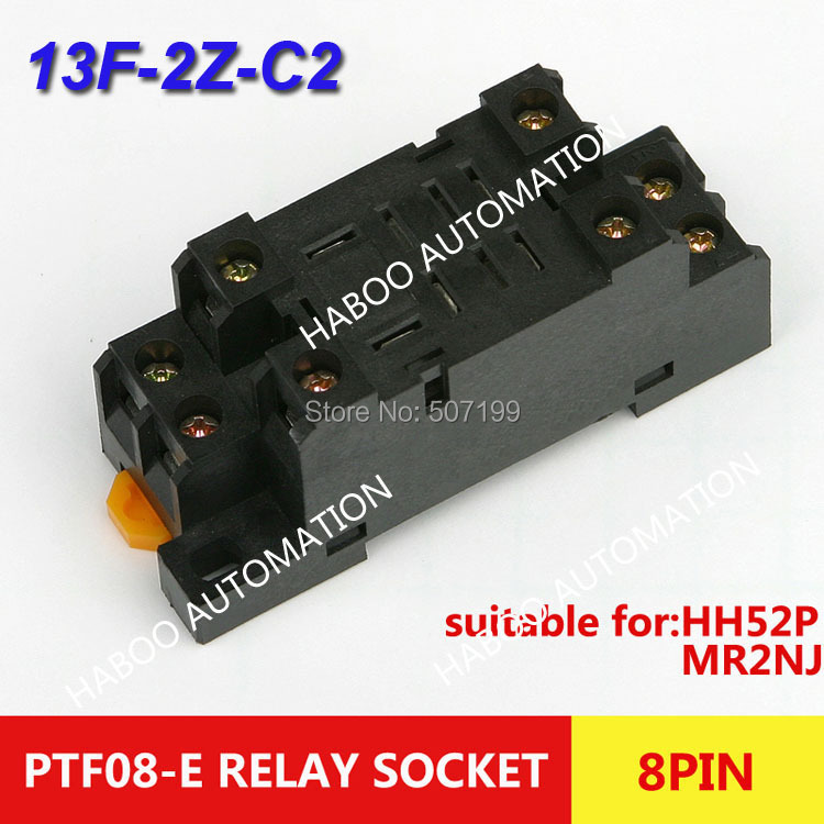 HABOO 10pcs/lot mini relay pin electrical socket PTF08A-E with high quality 8pin for LY2NJ HH62P series relay