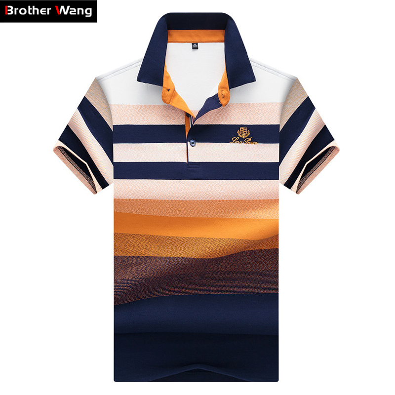 Brother Wang Brands 2019 New Men's Casual   POLO   Shirt Classic Embroidery Business Fashion Short Sleeve   Polo   Shirt Tops Male