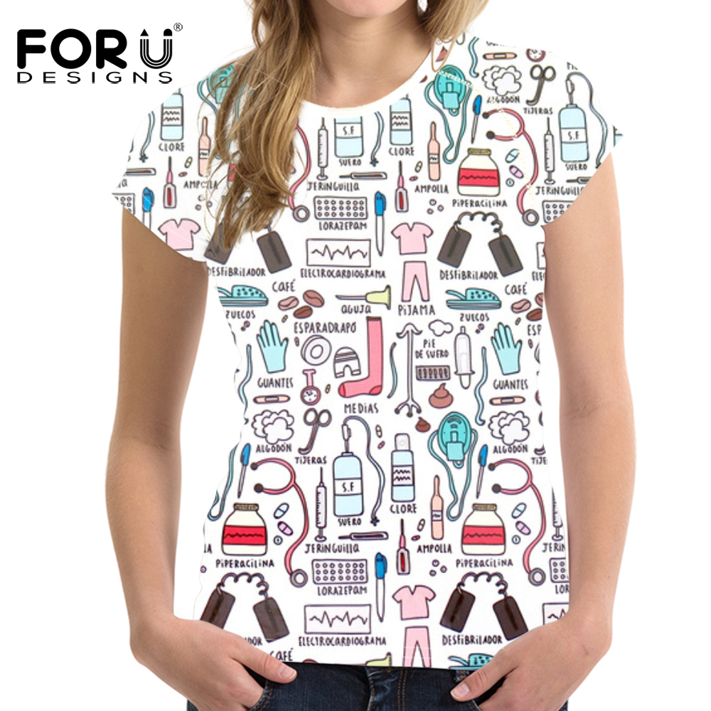 FORUDESIGNS Women Basic T-shirt Casual O-neck Tee Shirt Cute Nurse Pattern Summer Women Tops Brand Clothes tshirt Top Women Tees