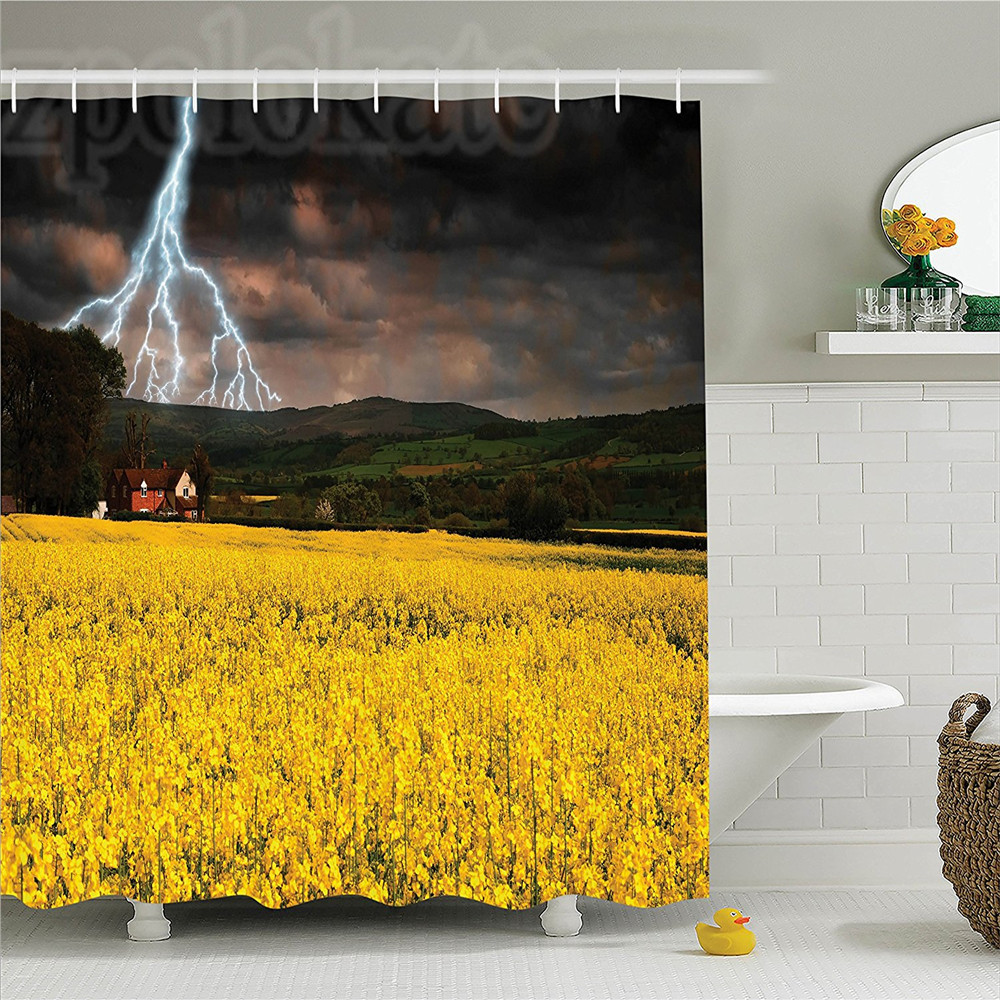 Lake House Decor Shower Curtain Set Thunderstorm over the Meadow Valley with Scary Dark Sky Rural Farm Scenery Bathroom Accessor
