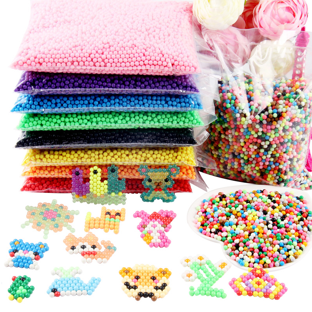 6000pcs 5mm 24 Mix Colors Perler Beads Magic Water Spray Beads Creative 3D Animal Water Beads Puzzle Toys for Children Gifts