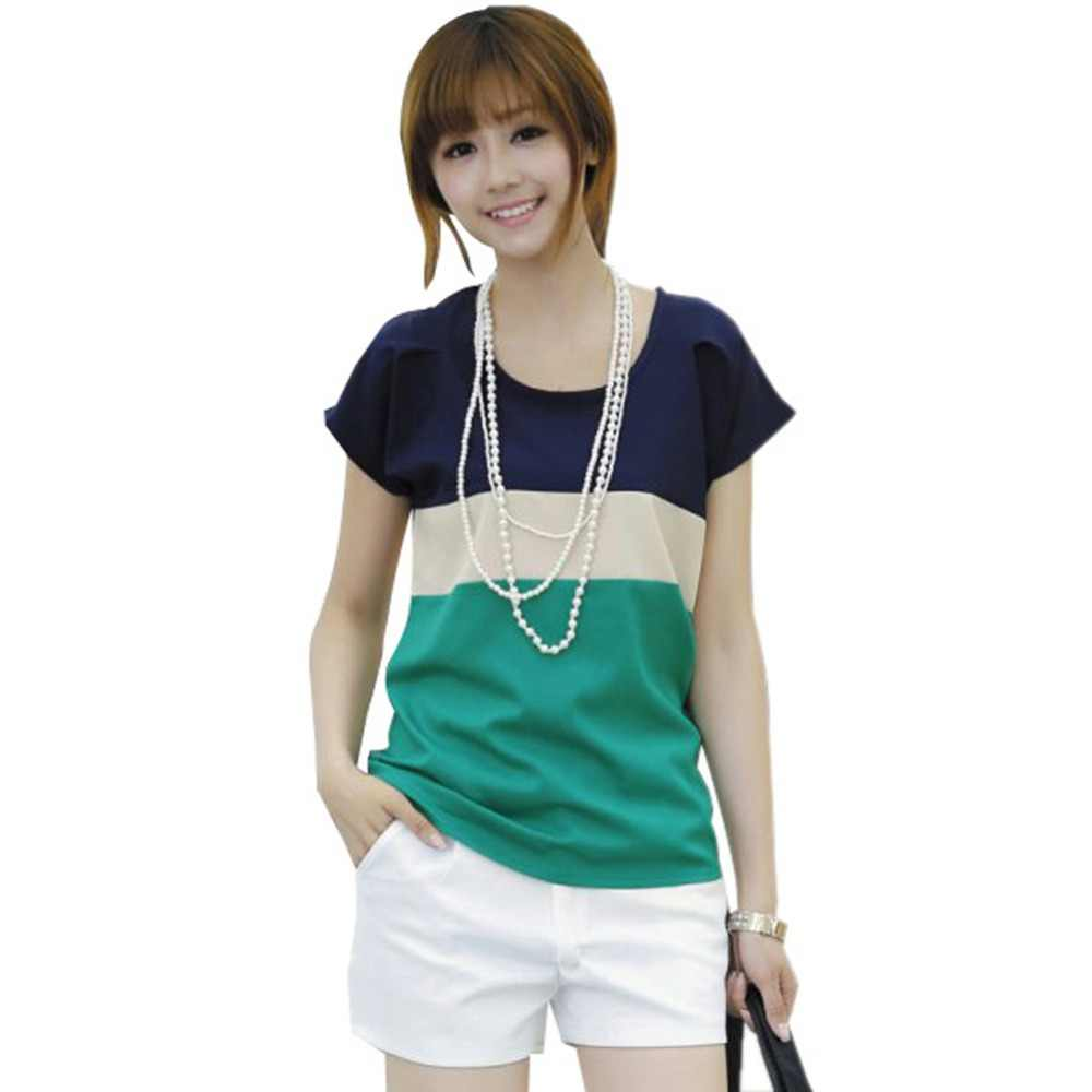 Korean Girl Batwing Sleeve Spell Color  Tops Chiffon Crew Neck T-shirt New