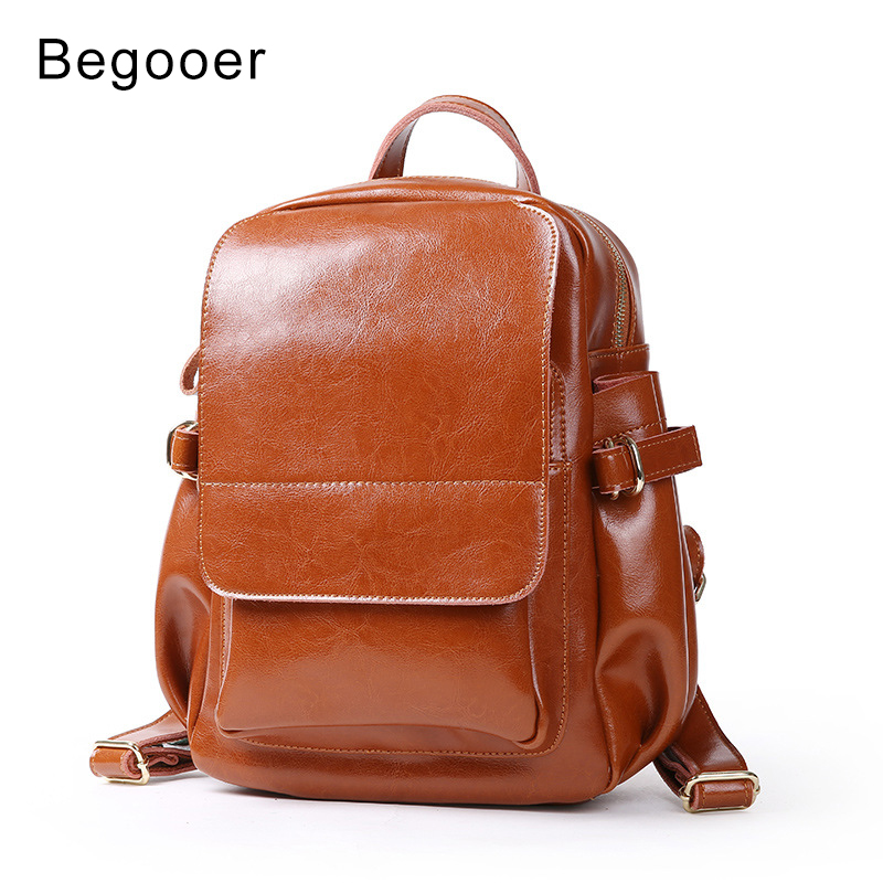 Genuine Leather Women s Backpack Vintage Oil Wax Cowhide Ladie Backpacks Real leather Female Bag Teenager