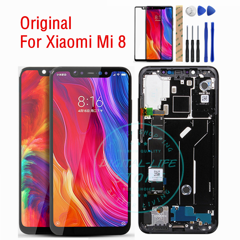 Original For Xiaomi Mi 8 LCD Display Frame For Xiaomi Mi8 6 21 LCD Digitizer Touch