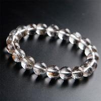 Genuine Brazil Natural Silver Hair Rutilated Quartz Crystal Bead Lady Bracelet 10mm