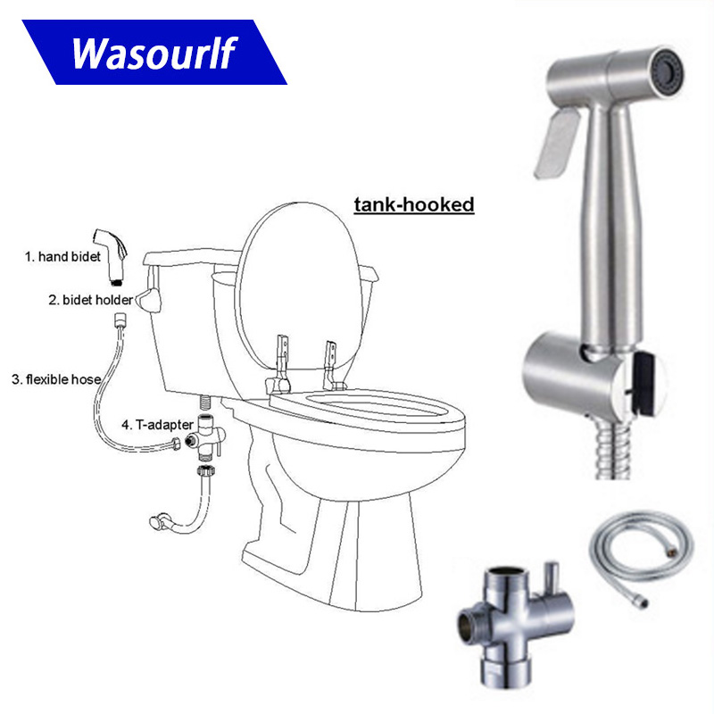 Wasourlf Toilet Hand Sprayer Bidet Stainless Steel Shower Hose Distributor Bathroom Accessories Toilet fittings Rest Room parts
