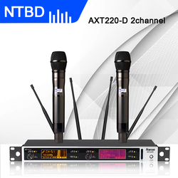 NTBD Stage Performance Home KTV AXT220D True Diversity Professional Dual Wireless Microphone System a 2 Wireless Microphone