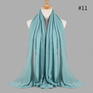 Image 5 - Fashion pleated maxi crinkled hijabs scarf elegant shawl plain maxi muslim hijab women wrinkle scarves shawls soft muffler 1 pc
