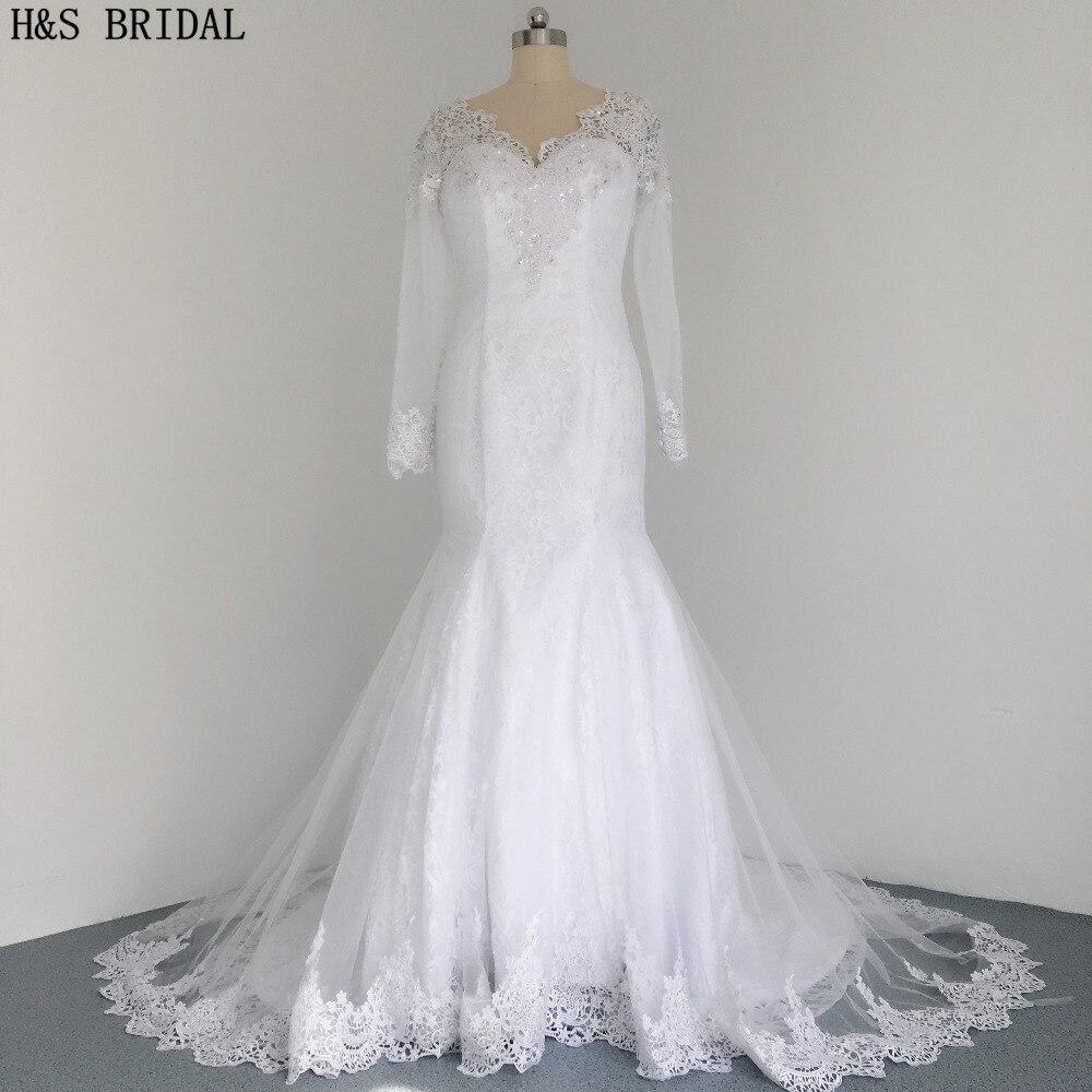 H&S BRIDAL Vintage Long Sleeve Wedding Dresses Mermaid