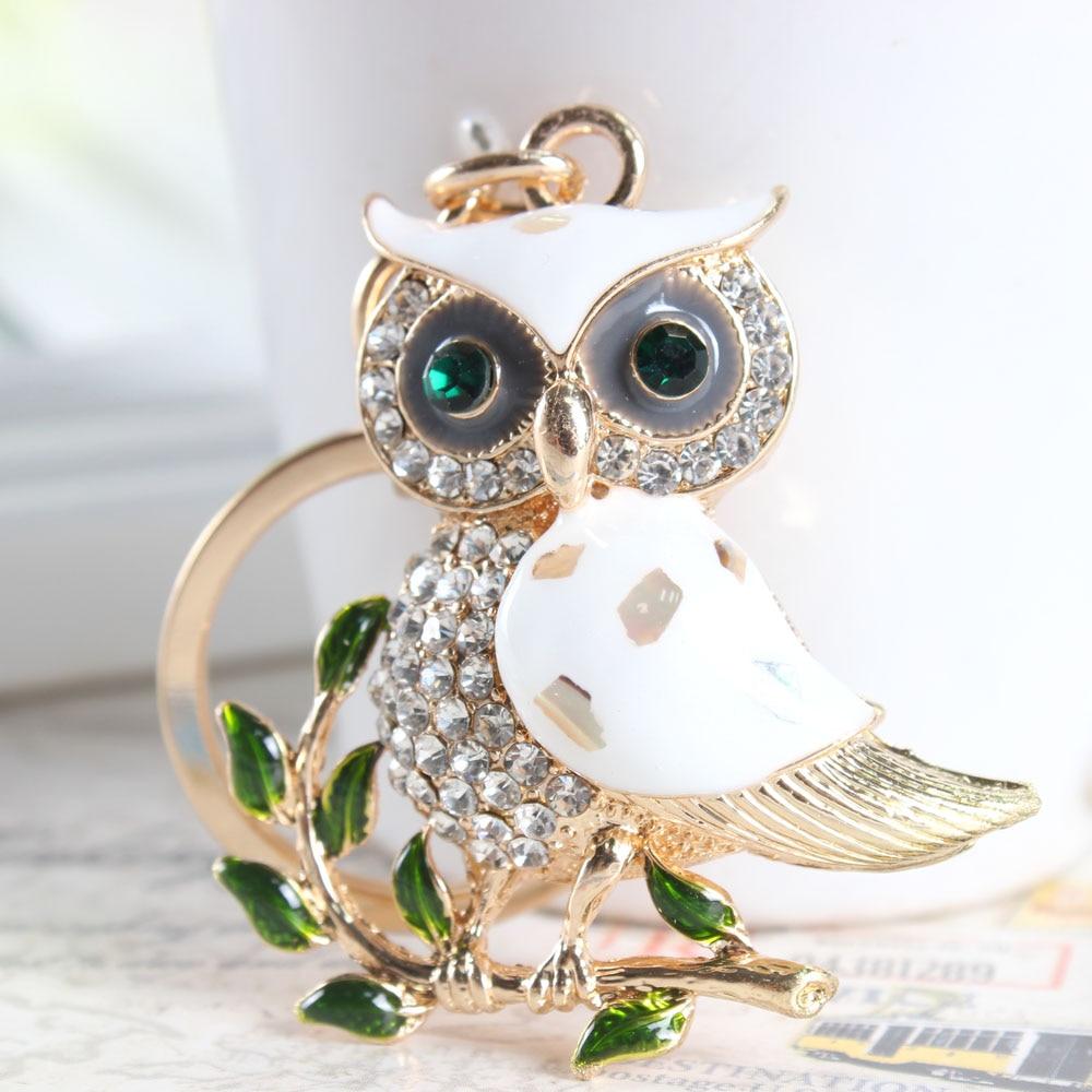 Owl Branch White Crystal Keychain