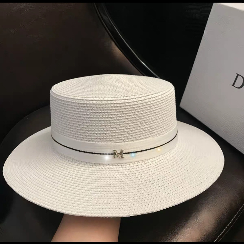 New Simple Flat Top White Hat Elegant Fashion Ribbon M Standard Straw Hat Inverness Vacation Sunscreen Sunshade