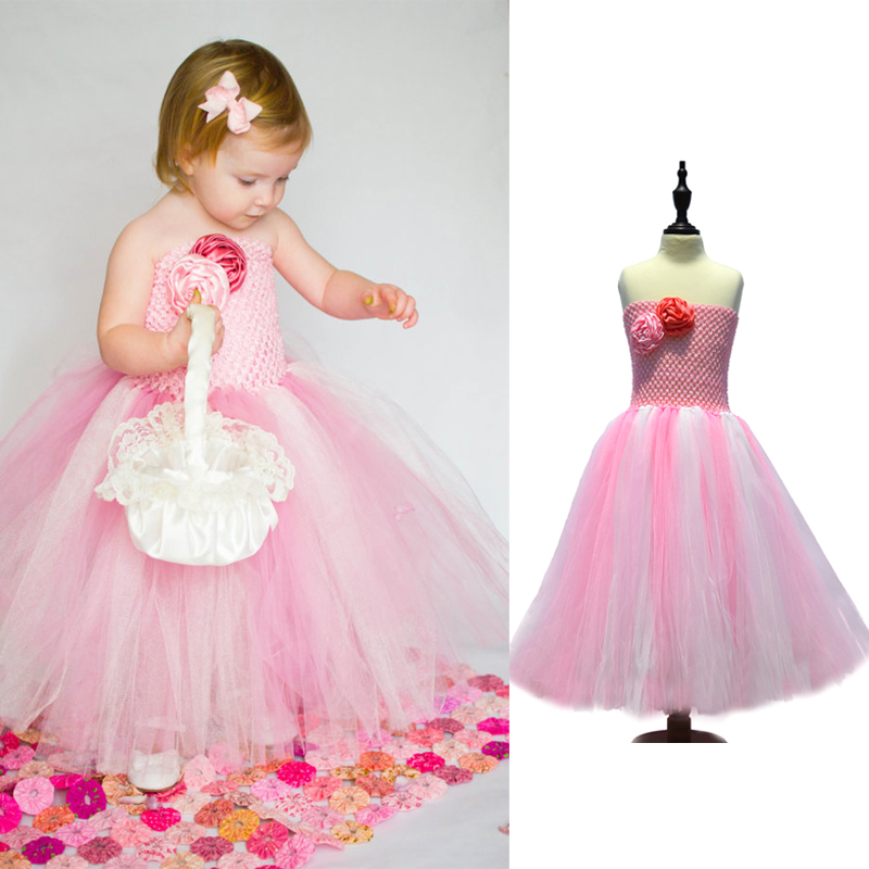 Pink&White mixed Flower Girl Tutu Dress Handmade Baby Girl ...