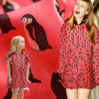 2017 summer silk yarn fabric, clothing fabric, stay Meng, Penguin pattern, printed fashion, parent child package, fabric summer