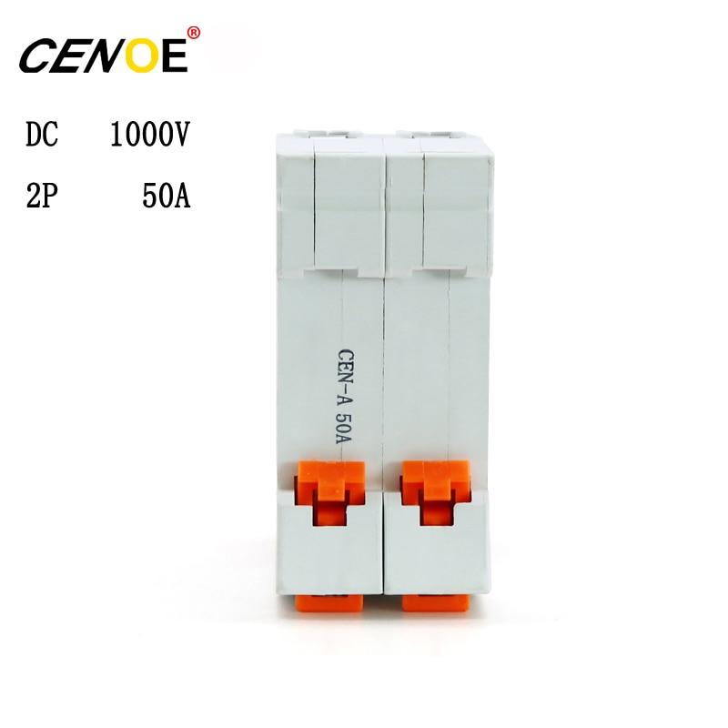 10 pcs CENOE Brand free shipping low price DC 1000V 2P 50A dc breaker PV breaker 2p solar Circuit breaker for global PV market