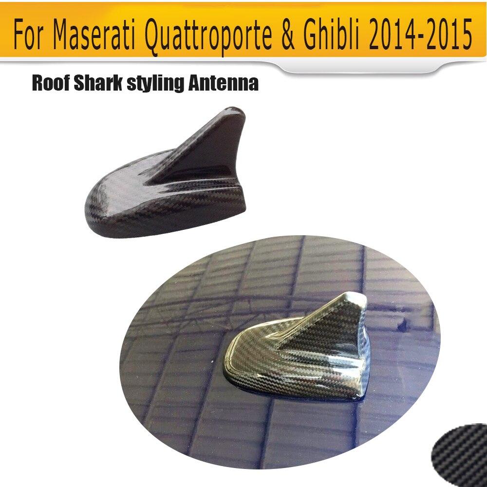 Fibre de carbone voiture toit requin style antenne émetteurs récepteurs couvercle garniture pour Maserati Quattroporte & Ghibli 2014-2015