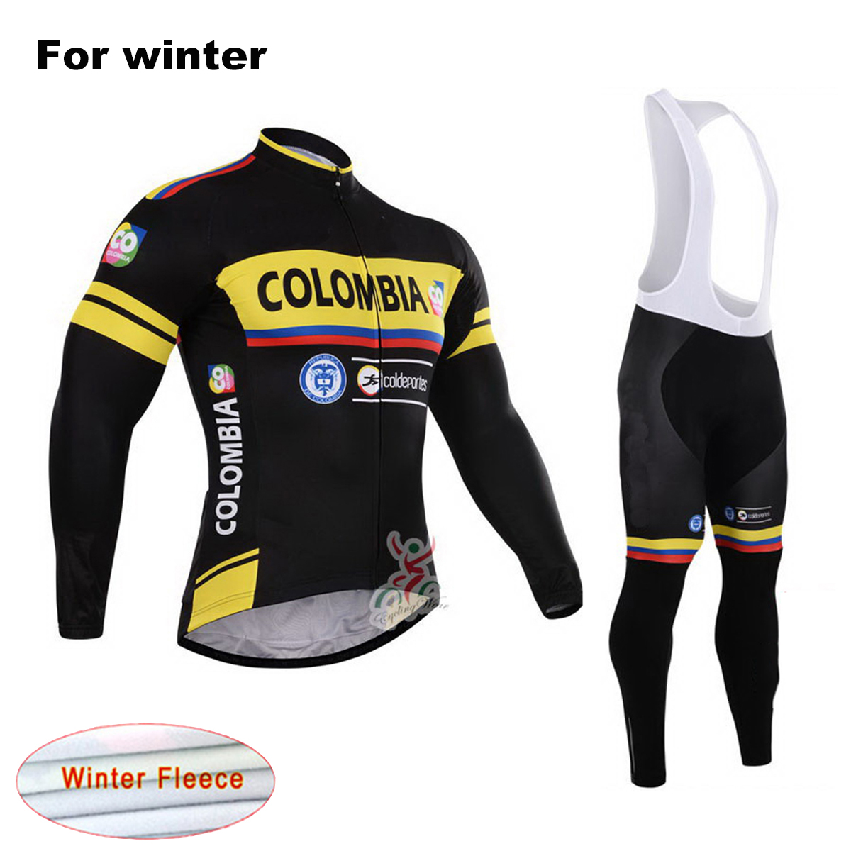 COLOMBIA 2017 Thermal Fleece Winter Cycling Jersey Set Men`s Warm MTB Bike Clothes Pro Team Bicycle Clothing Suit arsuxeo warm up fleece thermal cycling bike bicycle jersey winter windproof long sleeve jacket men s outdoor sports clothing