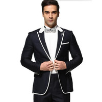 The latest men Wedding suits Dress Men Suits Casual Long Sleeve Suit High Quality prom suits tuxedos Navy Blue(jacket+pants)