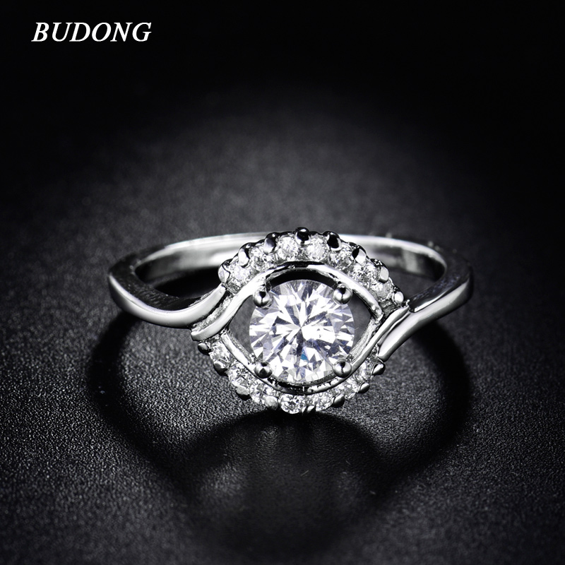 BUDONG New Fashion Brand CZ Zirconia Bands Silver Color Infinity Rings Special Cluster Design Crystal Women Jewelry 2017 XUR170